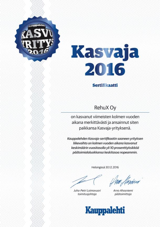 Kauppalehti myönsi Rehux Oy:lle Kasvaja sertifikaatin kolmen viime vuoden merkittävän kasvun ansiosta.